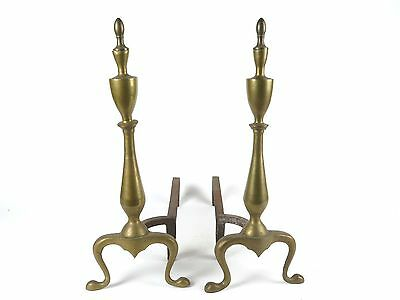 Vintage fireplace andirons antique brass tone metal cast iron Queen Anne style