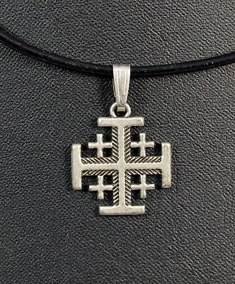 Jerusalem Cross Pendant Silver plated necklace from the Holy Land ISRAEL