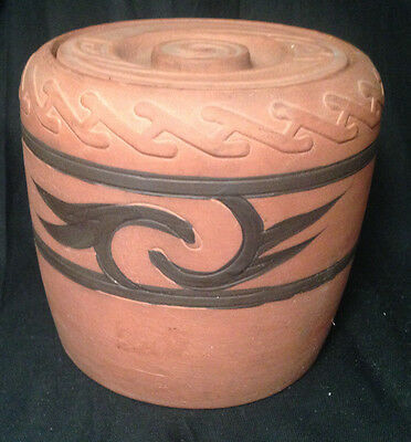 Antique Red Clay Humidor, Jar, Early 1900's, Clifton Indian Ware Art Pottery 303