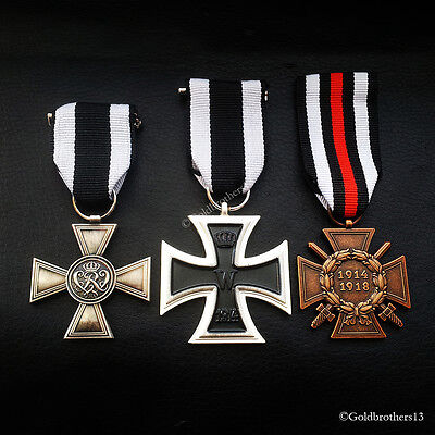 3x Set WW1 German Military Medals : MHM 1st, Iron Cross 2nd & Honour Cross Repro