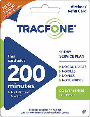 TRACFONE $39.99 Refill 90 Days 200 Minutes