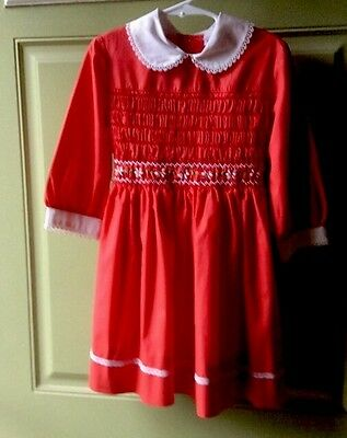 VINTAGE Polly Flanders RED Hand Smocked Dress SIZE 6