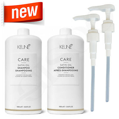 Keune Care Line 1L Satin Oil Shampoo & Conditioner 1 Litre + 2xFREE Pumps