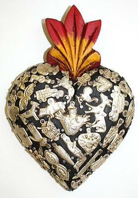 New Wooden Heart With Milagritos (Little Miracles) Mexican Art Stunning Quality