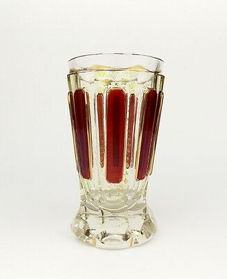 Antique 1890 MOSER Biedermeier Glass Beaker Cut To Clear Ruby Goblet Cup Bohemia