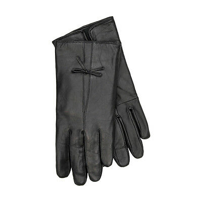 JENDI Ladies Size S Black Genuine Leather Lined SAMPLE Winter Gloves w Bow