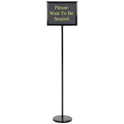 "NEW Black Aluminum 60"" Changeable Hostess / Teller Sign with 15 Messages"