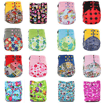 Baby Printed Pocket Nappy Reusable Cloth Diaper Wrap Bamboo Charcoal Urine Pad