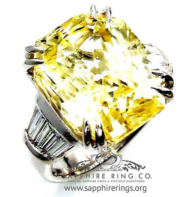 GIA Certified Platinum 13.36 tcw Yellow Cushion Natural Sapphire & Diamond Ring