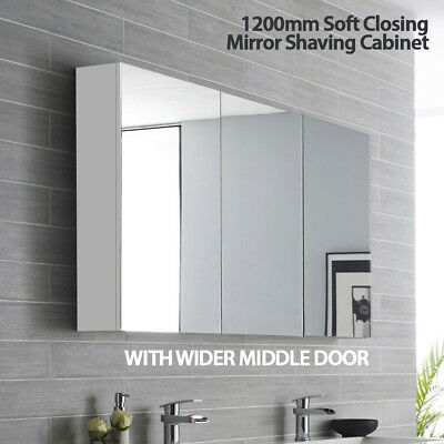 Mirror Shaving Cabinet w Soft Close Door & Glass Panel Shelves /600,750,900,1200
