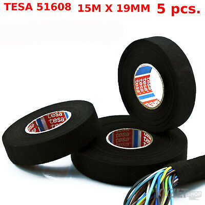 15m x 19mm 5 pcs REELS 51608 NEW TESA TAPE ADHESIVE CLOTH WIRING LOOM HARNESS