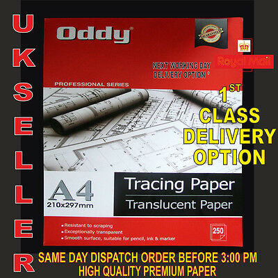 50 X A4 TRANSLUCENT TRACING PAPER 95gsm FOR ART,CRAFT,COPYING OR CALLIGRAPHY ETC