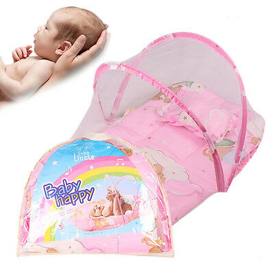 Portable Baby  Folding Mosquito Net Tent With Pillow Travel Crib Bed