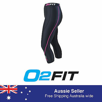 Womens 3 4 Black Pink Compression Compression Tights New Pants Sports Gym Run