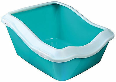 Trixie Cleany Cat Litter Tray With Rim 45x21(29)x54cm White/Aquamarine