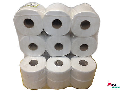 24 x Quality Mini Jumbo Toilet Paper Tissue Rolls 130M 2PLY 60mm 76mm