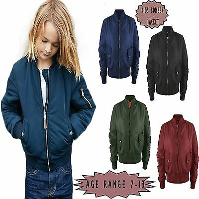 Kids Girls MA1 Padded Bomber Jacket Children Aviator Army Military Coat UK 7-13