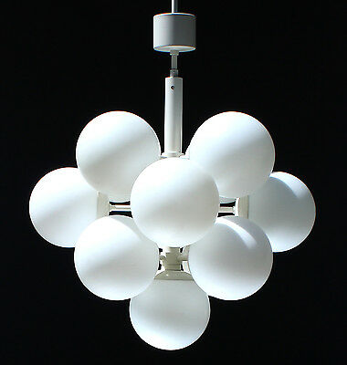 Marked Kaiser Sputnik 13 Lights Organic Chandelier Opal Glass 1970S Mid Century