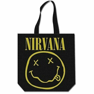 Nirvana logo du groupe de smiley magasinage réutilisable noir sac officiel
