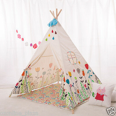 Flower Cotton Canvas Fabric Kids Play Teepee Tee Pee Picnic tent Indoor/Outdoor