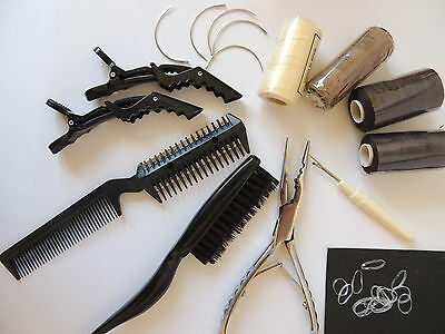 Braided Weave Weft Hair  Extension kit and tools