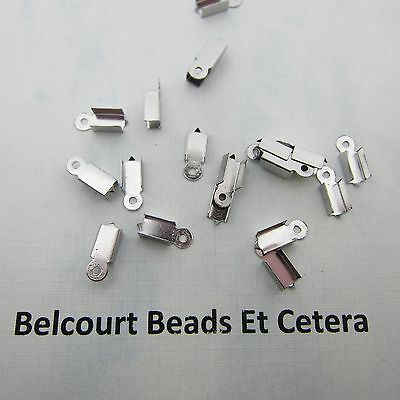 50 Stainless Steel Rectangle Cord Tip Ends 3.8x9.8x3mm 304 Grade Steel