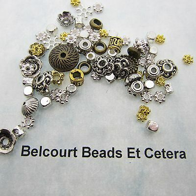 250 Assorted Metal Beads Gold and Silver 4mm - 12mm Lead Nickel and Cadmium Free