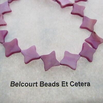 Purple Pink Shell Beads - Shape:  Cross or Star Size:  16x3mm Flat Beads