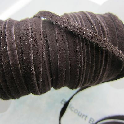 15' - 5 Yards - Dark Brown Goat Suede 3.5mm Wide - 1mm Thick Soft and Suttle