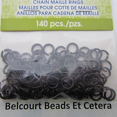 4.37 mm Black Copper Artistic Chain Maille Open Jump Rings Wire 18GA 140 Pieces