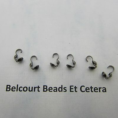 Black Plated Brass Bead Tips Knot Cover Bottom Clamp 4x9mm 12 Grams Approx 100pc