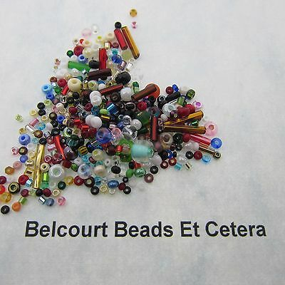 50 Grams Mixed Glass Czech Seed and Bugle Beads - Approximately 2500 Beads