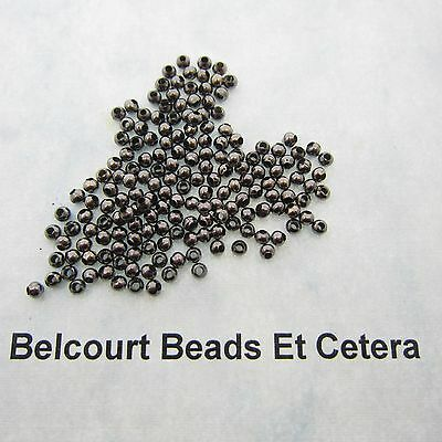 250 Beads - Black Metal Round 2.4mm Copper Beads 6 Grams