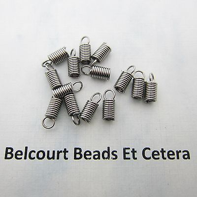 100 Stainless Steel Spring Cord End Connectors 10x4mm Coiled 304 Grade