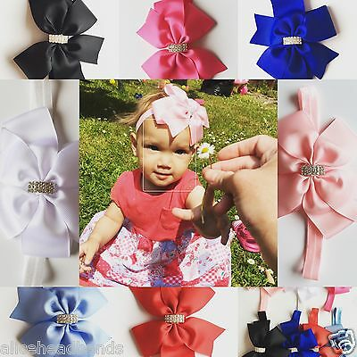 Big Bow Diamante Baby Girls Headband Soft Elastic Band New Born Hair 6Inch+ Lot