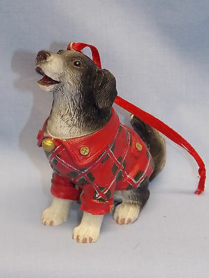 Border Collie Dog in Red Coat Christmas Tree Ornament Molded Resin 3 1/4 In New