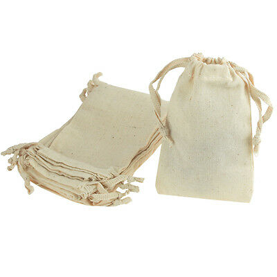 Natural Cotton Muslin Gift Bags with Drawstrings, 12-Pack