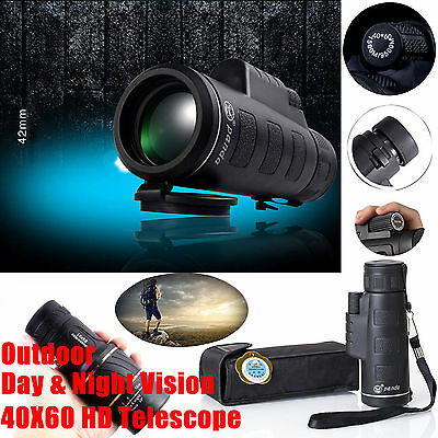 US Day&Night Vision 40x60 HD Optical Monocular Hunting Camping Hiking Telescope