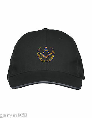 Black Masonic Baseball Cap tastefully embroidered with Square and Compass design