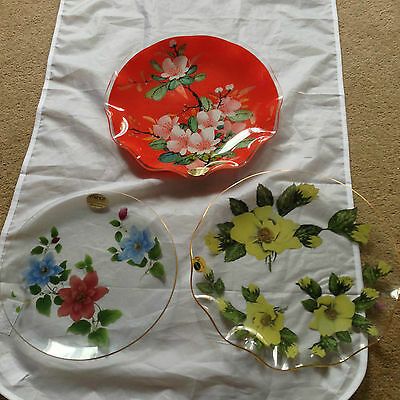 3 x CHANCE / FIESTA FLORAL Decorative GLASS PLATES with Labels - VGC