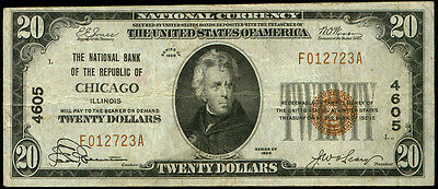 $20 Chicago Illinois National Bank 1929~#4605~National Currency~Wide Margin