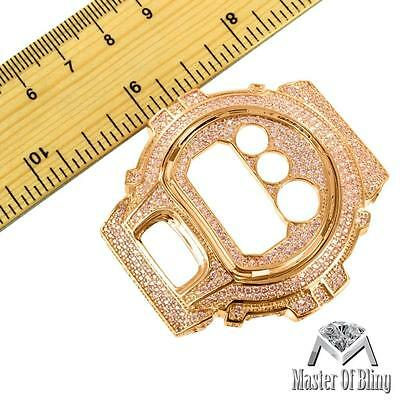 Custom Made Iced Out Rose Gold Tone Bezel Face DW6900 GShock Mens Wristwatch NEW