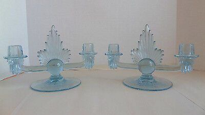 Fostoria Meadow Rose Etched Pair Double Candlestick Holders Light Blue