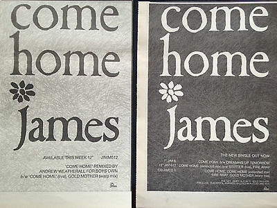 """JAMES # COME HOME # 2 x NEW SINGLE / REMIX RELEASE ADVERTS 1990 #  8""""x 11"""""""