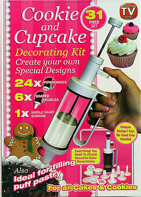 Cup Cake Decorate Kit Birthday Xmas Frosting Decorator Icing Pen 31 Piece Set