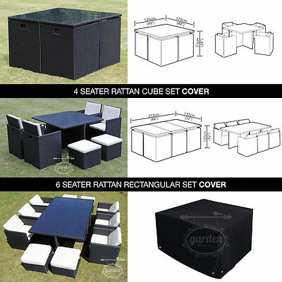 Rattan Garden Furniture Cube Cover For 6 & 4 Seat Rain Dust Uv Protector Cover
