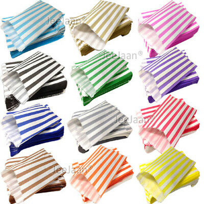 "200 Color & White Candy Stripe Paper Sweet Bags Wedding 5"" X 7"" Pick 'n' Mix Bag"