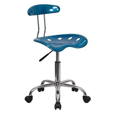 Stool Drafting Chair Chrome Blue Office Furniture New Tractor Back Seat Computer