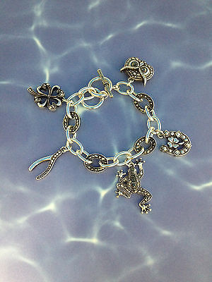 Good Luck Silver Marcasite Charm Bracelet Toggle Lock Owl Frog Horse Shoe Clover