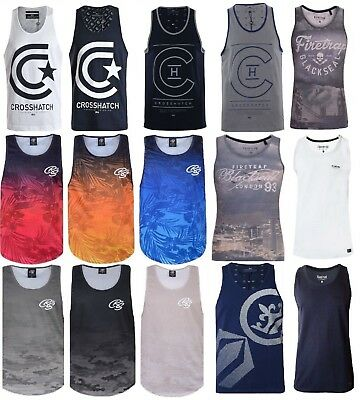 Mens Crosshatch Duke Vest Sleeveless Muscle Tank Top Gym Summer T shirt Printed
